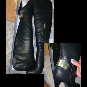 Black Knee-High Leather Boots